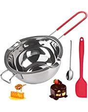QAQGEAR 304 Stainless Steel Chocolate Melting Pot 600ml Stainless Steel Melting Pot with Heat Resistant Handle for Melting Chocolate, Butter, Cheese, Caramel and Candy