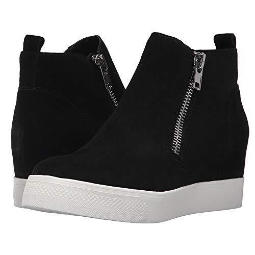 Enjoybuy Womens High Top Hidden High Heel Wedge Sneakers Casual Zip Up Ankle Booties