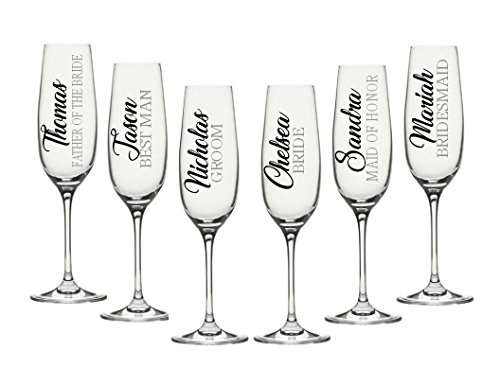 Wedding Party Champagne Flute Decals. Customize the color, name, and title. Perfect for your wine glasses, flasks, Yeti cups, bridesmaids gift, water bottle, (Wedding Party Glasses)