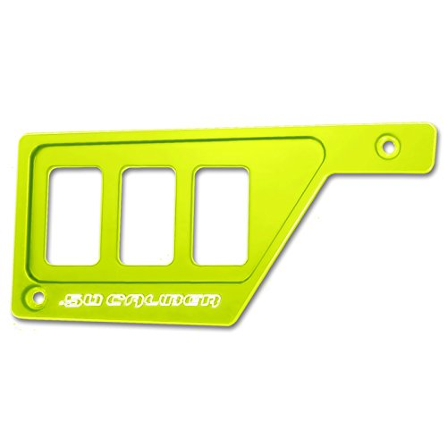 50 Caliber Racing 3 Switch Dash Panel Only LH Left Side Billet Aluminum Lime Squeeze Powdercoated without Waterproof Illuminated Switch fits RZR XP1000 [5357E8]