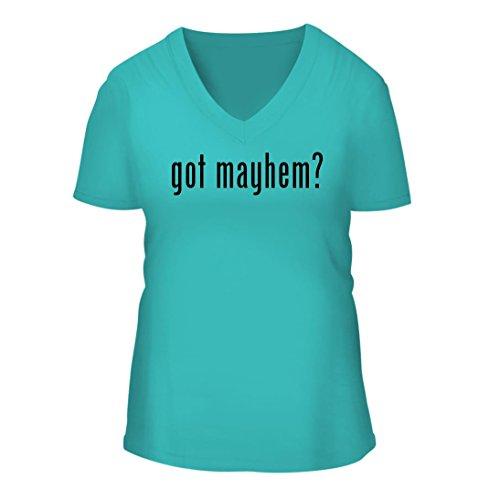 got mayhem? - A Nice Women's Short Sleeve V-Neck T-Shirt Shirt, Aqua, - Allstate Mayhem