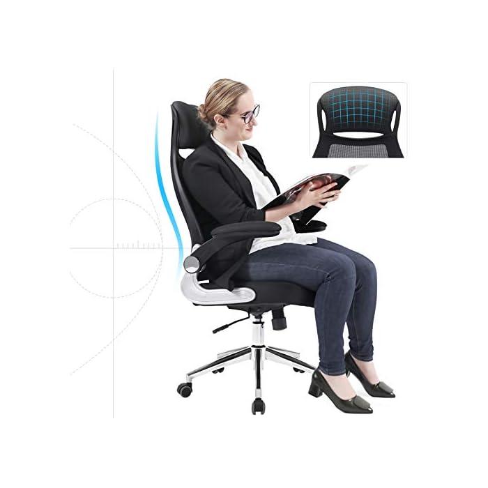 41hpsEUw65L Cómodo para sentarse - Asiento grande (51 cm de ancho, 50 cm de profundo) con relleno de esponja de alta densidad permite que no se deforma con facilidad; el respaldo de malla (71 cm de alto) con diseño ergonómico es transpirable, y el soporte lumbar puede aliviar tensiones de la vértebra Regulable - Los apoyabrazos (la altura entre los apoyabrazos y el asiento es de 22 cm) quedan muy bien con los brazos, es favorable para relajar los brazaos, y los apoyabrazos plegables le facilitan colocar la silla debajo de su escritorio; gracias al mecanismo de ajuste, son regulables la la altura del asiento (45-55 cm) y la inclinación, lo que le ayuda a relajarse (es adecuada para las personas que miden dentro de 175 cm) Estable y gran capacidad - Gracias a 5 puntos de apoyo ( Ø 66 cm) del pie de estrella, por eso, la silla tiene una gran estabilidad; resorte de gas (TÜV Rheinland: DIN4550 CLASS3, encargado de examinar: proveedor); los apoyabrazos están galvanizados; la silla giratoria puede soportar el peso de hasta 150 kg