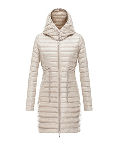 Women's Coat Size Gray Color Large Long Hooded Jacket Solid Packable Light Outdoor Down Yiiquan d0TRqwd