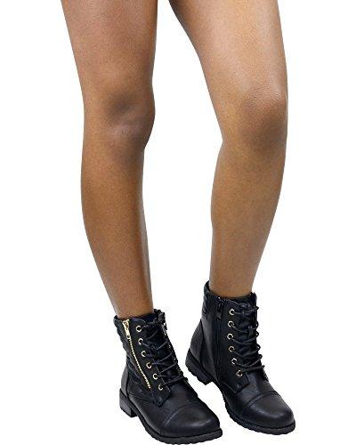 Forever Womens MANGO-77 Side Gold Zipper Combat Bootie Black gqPGV0nzk