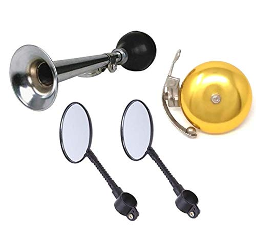 Chachlili 4 Piece Classic Vintage Bike Accessory Kit for Kids and Adult Bikes Mirrors with Reflectors, Silver Classic Horn and Gold Bell