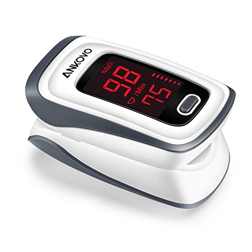 ANKOVO Pulse Oximeter Fingertip Blood Oxygen Saturation Monitor Pulse Rate and SpO2 Level with Lanyard and Batteries -