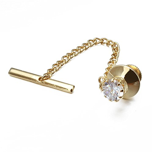 HAWSON Mens Gold Tie Tack With Chain Gold Tie Clip Party Accessories White