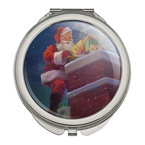 (Christmas Holiday Santa Going Down the Chimney Compact Travel Purse Handbag Makeup Mirror)