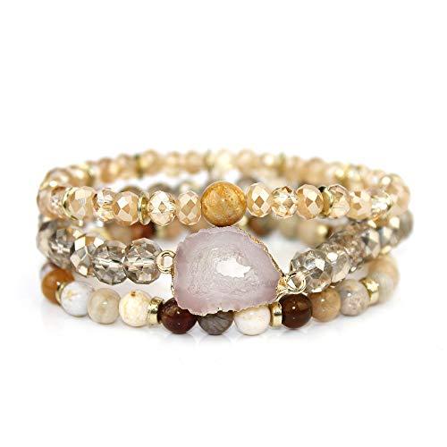 POMINA Semi Precious Stone Beaded Stretch Multi-Layer Druzy Bracelets for Women, Set of 3 ()