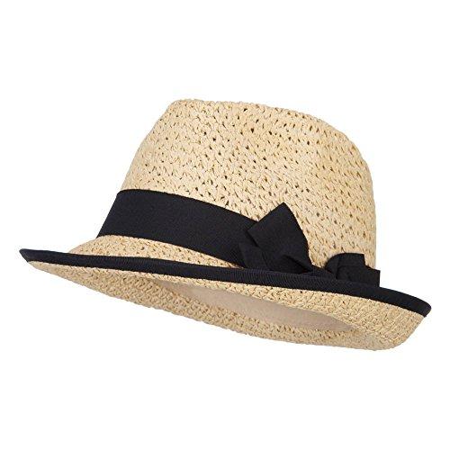 Women's Bow Accent Toyo Braid Fedora - Tan - Hat Toyo Wide Braid