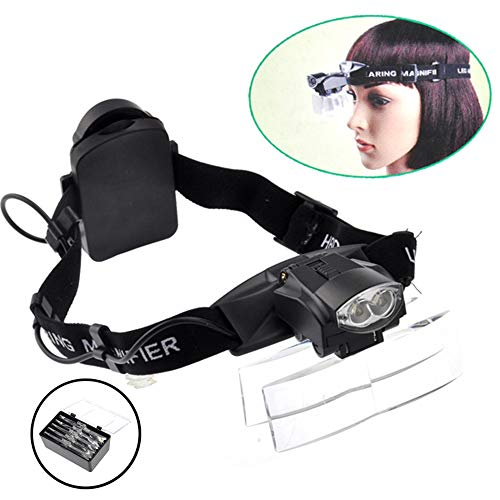 Lighted Head Magnifier Glasses Headset with Led Light Magnifying Head Lamp Headband Loupe Visor Hands-free for Watch Repair Reading Eyelash Hobby Crafts Sewing,1.0X-6.0X, 5 Lenses]()
