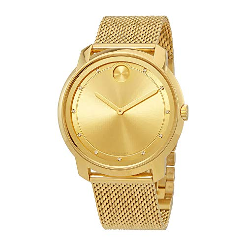 Bold Large Diamond and Gold Plated Mesh Watch - Movado 3600460