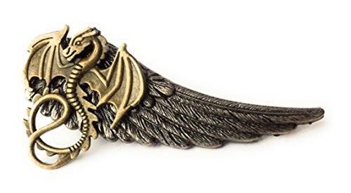Dragon Winged Tie Clip By Arcanum By Aerrowae - Mens Gift Silver Tie Bars for Groomsmen by Arcanum By Aerrowae