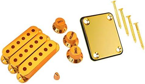 D DOLITY ギターピックアップカバーノブスイッチチップ+エレキギター用ネックプレートネジ
