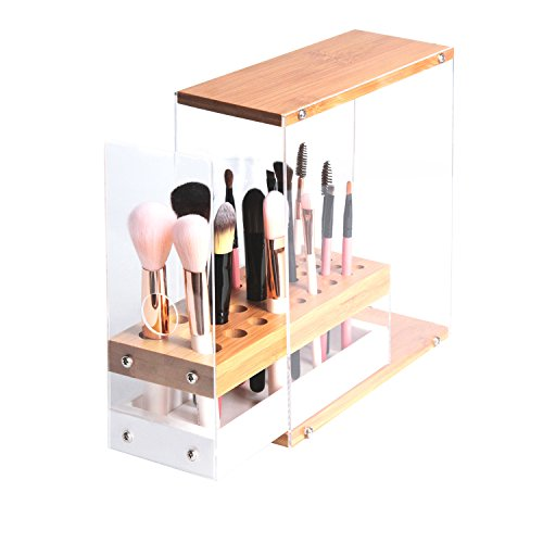 JackCubeDesign 31 Holes Acrylic Bamboo Brush Holder Organizer Beauty Cosmetic Display Stand with Leather Drawer(White, 8.77 x 3.38 x 8.46inches) - :MK228D