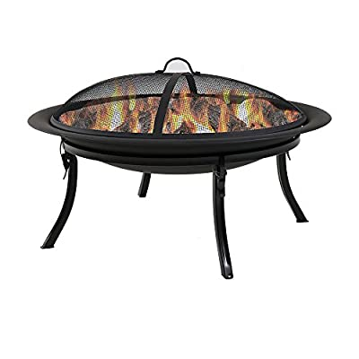 Sunnydaze Portable Outdoor Fire Pit Bowl - 29 Inch Round Bonfire Wood Burning Patio & Backyard Firepit for Outside with Spark Screen, Fireplace Poker, Folding Stand, and Carrying Case Cover - PORTABLE SIZE: Can easily be moved around on the patio, yard, lawn, garden, or while camping at the campground; Overall 29 inch diameter x 24 inch high, weighs 12 pounds HIGH TEMPERATURE PAINT: Firepit is made from heavy duty steel metal and finished with high temperature paint for long-lasting quality and added resistance to rust; Conveniently folds for ease of portability and quick set up in the backyard or for a campfire EVERYTHING INCLUDED: Wood burning fire pit set includes folding stand, mesh spark screen for added protection from flying sparks, fireplace poker tool to easily control the flame, and a travel carrying case so it can be taken anywhere - patio, outdoor-decor, fire-pits-outdoor-fireplaces - 41hptypL9ML. SS400  -