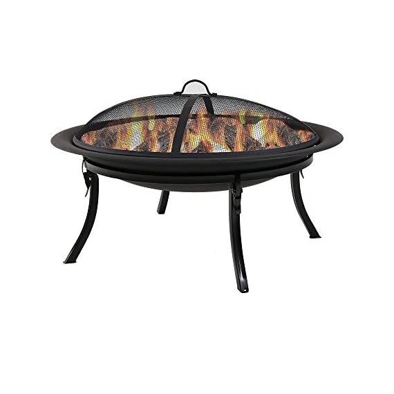 Sunnydaze Portable Outdoor Fire Pit Bowl - 29 Inch Round Bonfire Wood Burning Patio & Backyard Firepit for Outside with Spark Screen, Fireplace Poker, Folding Stand, and Carrying Case Cover - PORTABLE SIZE: Can easily be moved around on the patio, yard, lawn, garden, or while camping at the campground; Overall 29 inch diameter x 24 inch high, weighs 12 pounds;The base when folded is 8.75 inches tall and the diameter of the base is 23.25 inches HIGH TEMPERATURE PAINT: Firepit is made from heavy duty steel metal and finished with high temperature paint for long-lasting quality and added resistance to rust; Conveniently folds for ease of portability and quick set up in the backyard or for a campfire EVERYTHING INCLUDED: Wood burning fire pit set includes folding stand, mesh spark screen for added protection from flying sparks, fireplace poker tool to easily control the flame, and a travel carrying case so it can be taken anywhere - patio, outdoor-decor, fire-pits-outdoor-fireplaces - 41hptypL9ML. SS570  -