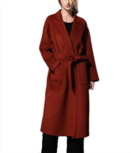 donna Windbreaker Giacca inverno Ispessimento lana cintura Suit autunno in Cappotto bifacciale Lace con up cashmere Outwear rust red in Collar qtTtEx