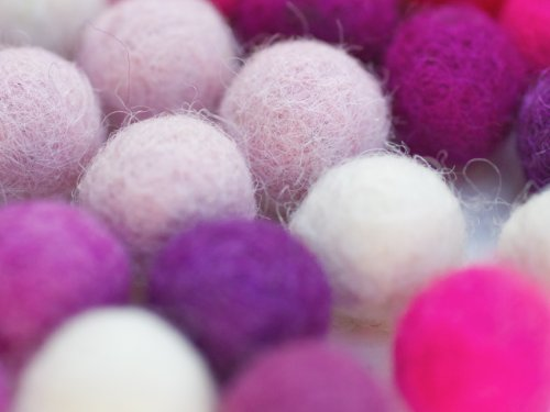 Mix Princess - 50 Felt Balls, 1 inch Made of 100% Merion Wool for Decoration, DIY and Creative Crafts Such as Garlands, Coasters, Mobiles and Wreaths. 8-Natur Balls Shipped in Cotton Bag