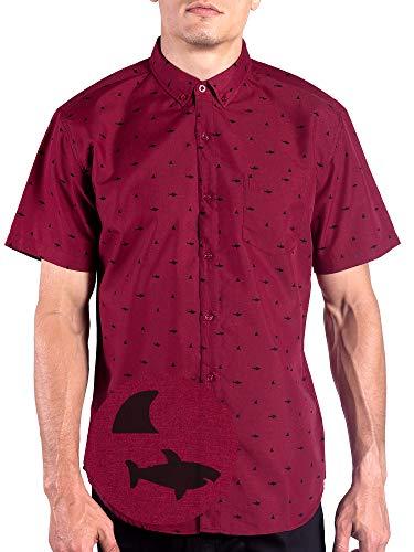 Visive Red Shark Mens Hawaiian Shirt Short Sleeve Button Up/Down Casual Shirts Burgundy - Shirt Large Mens Sleeve Short