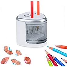 VOULTTOM Electric Pencil Sharpener, Mechanical Pencil Sharpener Battery Operated With Dual Hole Compact Desktop Pencil Sharpener Ideal For NO.2, Colored Pencils, Eyebrow Pencils & More (Silver)