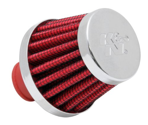 K&N 62-1600RD Vent Air Filter / Breather: Vent Air Filter/ Breather; 0.375 in/0.5 in (10 mm/13 mm) Flange ID; 1.75 in (44 mm) Height; 2 in (51 mm) Base; 1.5 in (38 mm) Top