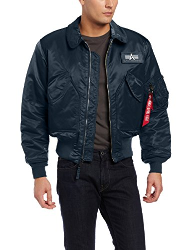 Alpha Industries Men's CWU 45/P Flight Jacket, Replica Blue, Large