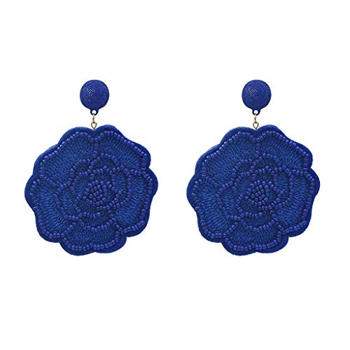 Floral Pendant Clip Earrings - Gift Jewelry Earrings, Alonea Pendant Rice Beads Floral Texture Multicolor Earrings is Good Gift for Girlfriend and Mom (Blue)