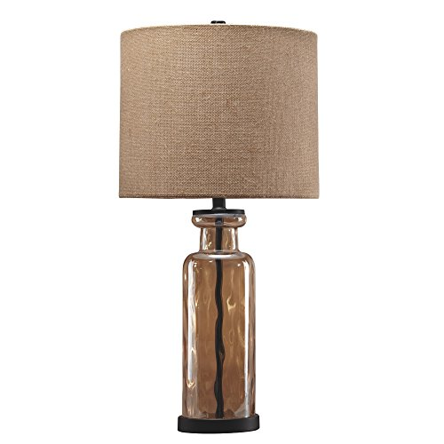 Ashley Furniture Signature Design - Laurentia Glass Table Lamp with Drum Shade - Champagne Toned ()