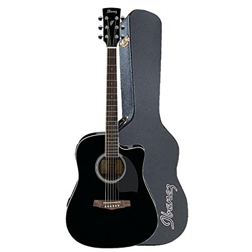 Ibanez PF15ECEBK Dreadnought Acoustic-Electric Guitar in Gloss Black Color with Ibanez PF50C Dreadnought Hard Shell Case for PF Guitars
