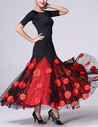 Da Tango Flamenco Lungo Sala Lunghe Gonna Valzer Elegante Moderna Donna Swing Besbomig Latino Ballo A Partito Danza Rosso Vestito Per qwTWC0