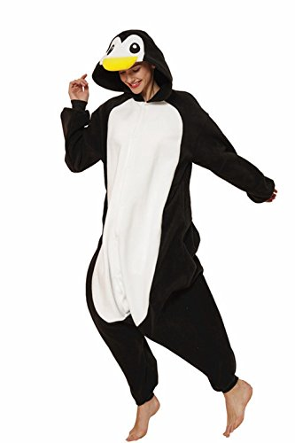 KING Fun Adult Unisex Animal Cosplay Pajamas Black Penguin Sleep Costumes Extra Large -