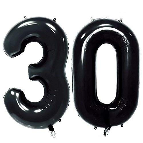 AZOWA 40'' Big Number 30 Balloons Black Jumbo Foil Mylar Number Balloons for 30 Birthday Party Anniversary Celebrate Party Decorations (Black, 40'')