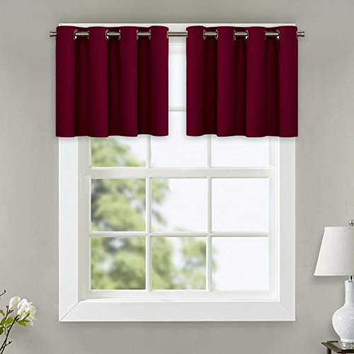NICETOWN Bedroom Half Window Curtains - Home Decoration Blackout Draperies Eyelet Top Panels (Ruby Red, 1 Pair, 52 Width x 18