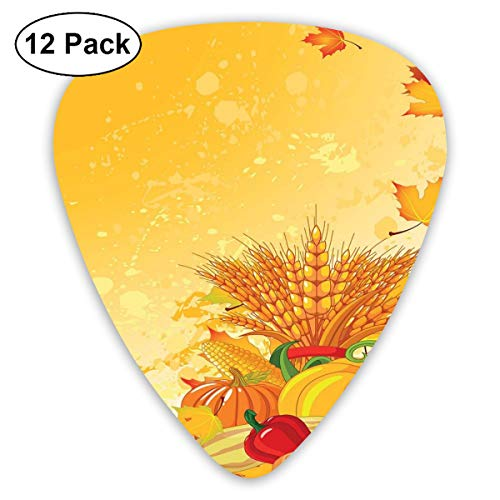 Guitar Picks 12-Pack,Vivid Festive Collection Of Vegetables Plump Pumpkins Wheat Fall Leaves