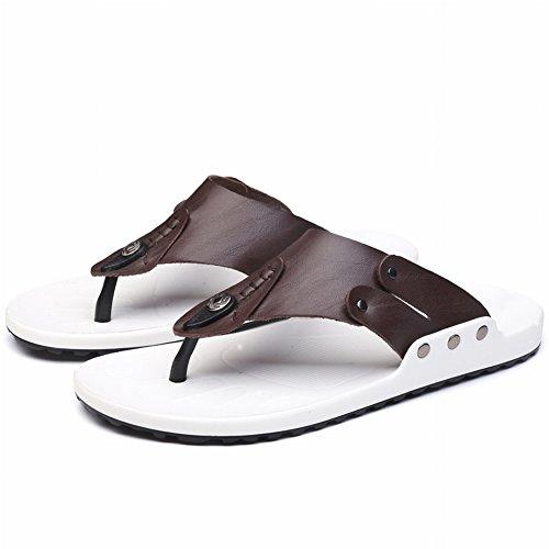 41 Sandali Moda da Marrone scuro Flop YTTY in Pelle Di Flip Infradito scuro Uomo Marrone Maschile Tendenza pdwf6q