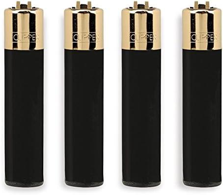Clipper 72, colección Maciza Negra, Paquete de 4 encendedores ...