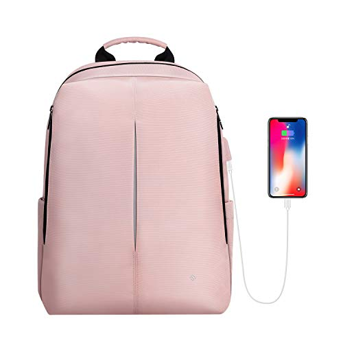 Anti Water Usb - FINPAC Laptop Backpack, Nano-Molecular Water Repellent Anti Tear Fabric Daypack with USB Charging Port for Travel Business College School Women Girls Fits 15.6 Inch Notebook, Pink