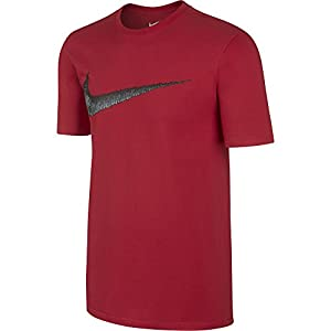 NIKE Men's Sportswear Hangtag Swoosh Tee, University Red/Anthracite, X-Large