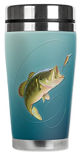 Mugzie 16 Ounce Stainless Steel Travel Mug with Wetsuit Cover - Bass Bass Wetsuit