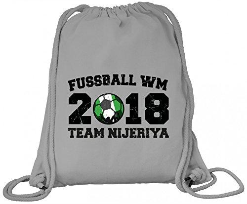 ShirtStreet Nigeria Fußball WM Fanfest Gruppen Premium Bio Baumwoll Turnbeutel Rucksack Stanley Stella Team Nijeriya Heather Grey f575v