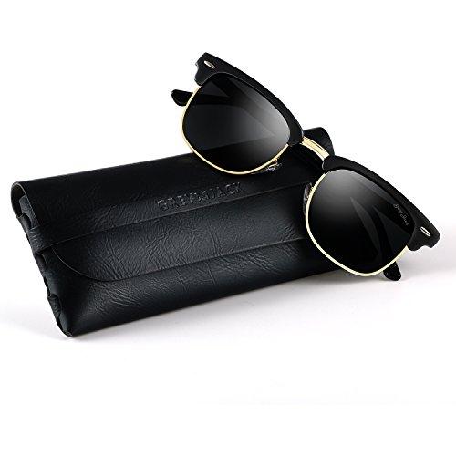 GREY JACK Classic Polarized Clubmaster Half Frame Mirrored Sunglasses Fashion Eyeglasses for Men Women Black Frame Black lens -