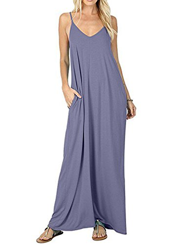 - Women's Casual Plain V-Neck Loose Beach Cover-Up Long Maxi Cami Dress Pockets