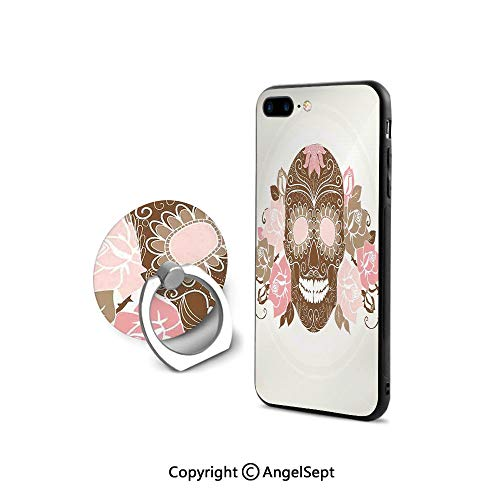 Protective Case Compatible iPhone 7/8 with 360°Degree Swivel Ring,Skull and Roses Dead Man in Colors Vintage Style Spooky Graphic Art Print,Ultra Thin Slim Cover Case,Chocolate Pink Cream
