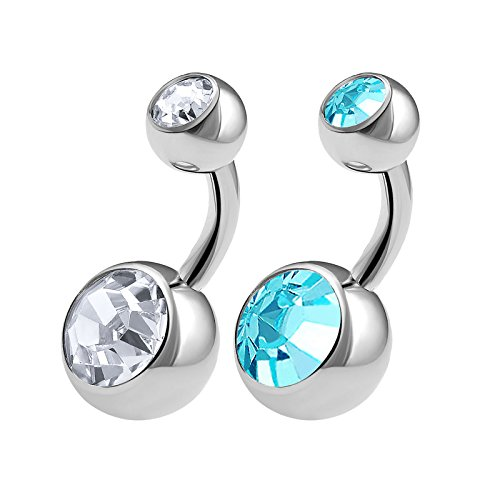 2PCS 316L Surgical Steel Short Belly Button Rings Studs 14 Gauge 1/4 6mm Aquamarine Crystal Balls Navel Piercing Jewelry 0562
