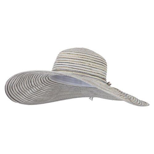 Ladies Metallic Toyo Braid Flat Wide Brim Sun Hat - White - Toyo Braid Hat Wide