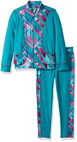 New Balance Girls' Little Athletic Jacket and Pant Set, Pisces/Plaid, 5 (New Balance Plaid)