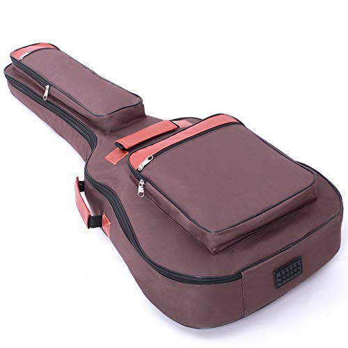 Glenmi Acoustic Guitar Case For 40'' 41'' Guitars,0.31 Inch cotton Thick Padding Guitar Bag with 4 Pockets,Can be placed in a folding music stand(Brown)