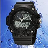 TODDCAHALAN OHSEN LCD Dual Core Waterproof Mens Date Day Stopwatch Rubber Sport Watch Black