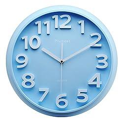 Kids Wall Clock, Plumeet 13 Silent Non-ticking Quartz Decorative Large Number Wall Clock, Nice Blue Quiet Wall Clocks For Kids/Girls/Boy Living Room (Blue)
